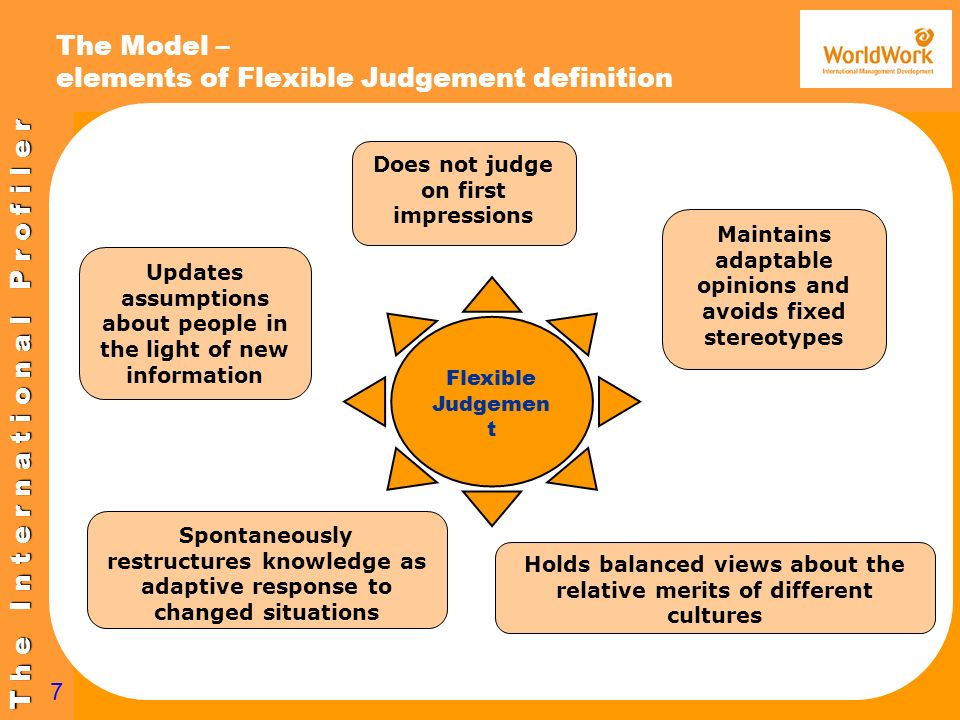 T h e I n t e r n a t i o n a l P r o f i l e r 7 The Model – elements of Flexible Judgement definition Flexible Judgemen t Does not judge on first im
