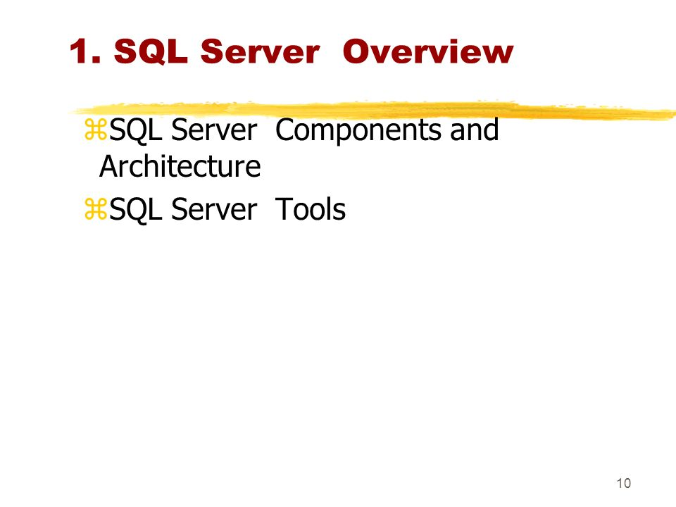 9 CHAPTER CONTENTS 1: SQL Server Overview 2 : Installing SQL Server 3 : Working with SQL Server Management Studio 4: Design and Administer Security Levels 5: Indexing Tables 6: Managing Transactions, Back Up and Locks 7: Accessing Linked Servers 8: Monitoring and Tuning 9: Automating Administrative Tasks 10: Programming Replication 11: Using Integration Services