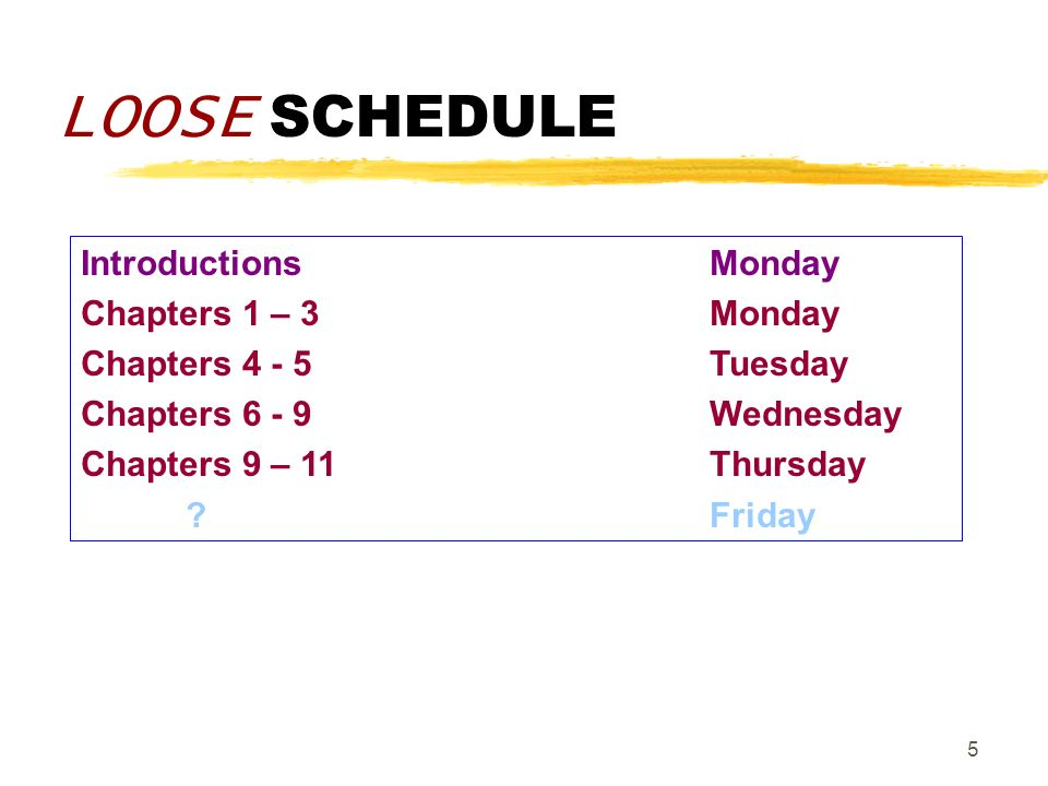 5 LOOSE SCHEDULE IntroductionsMonday Chapters 1 – 3Monday Chapters 4 - 5Tuesday Chapters 6 - 9Wednesday Chapters 9 – 11Thursday ?Friday