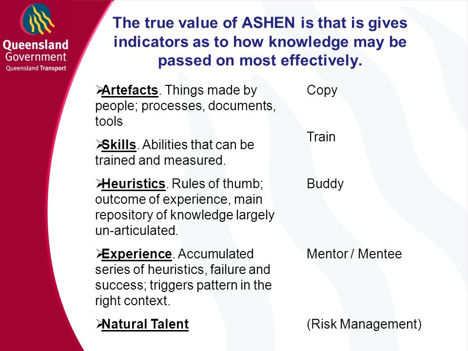 The true value of ASHEN is that is gives indicators as to how knowledge may be passed on most effectively.