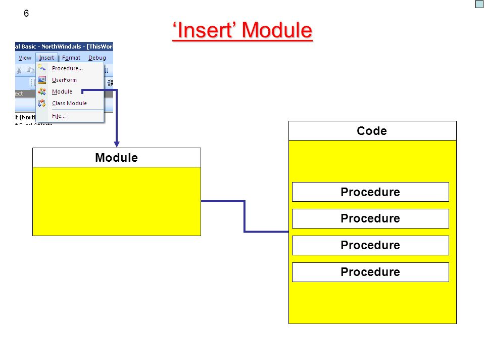 6 Insert Module Module Code Procedure