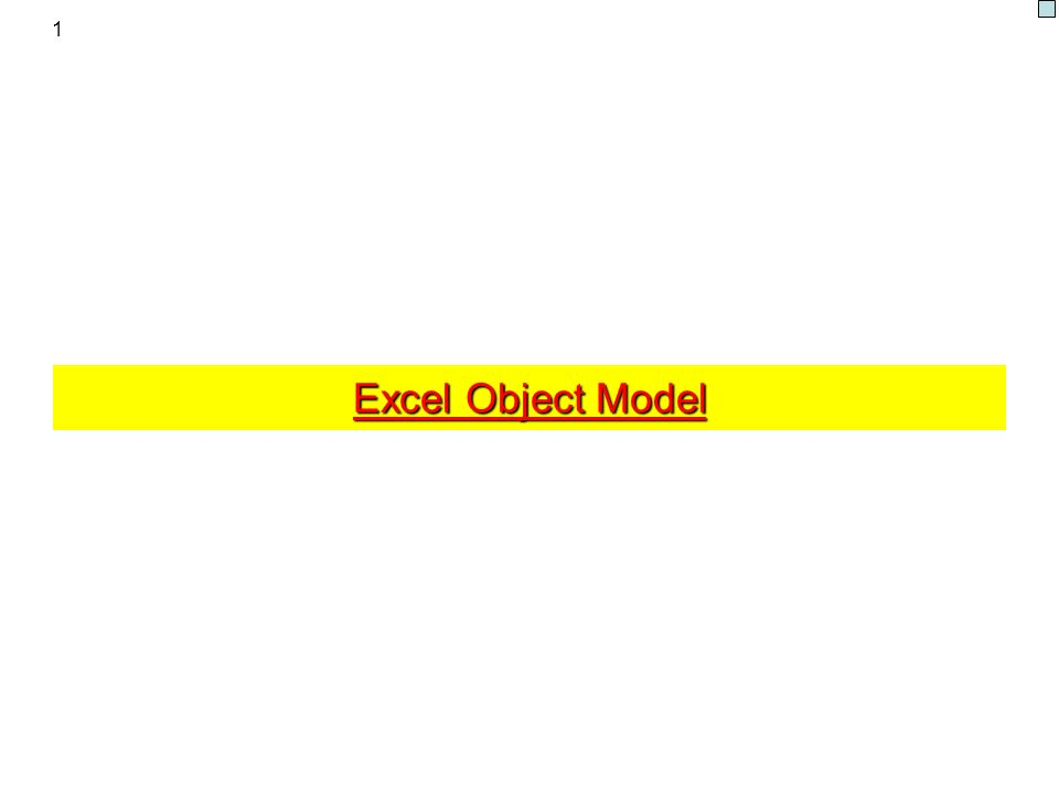 1 Excel Object Model