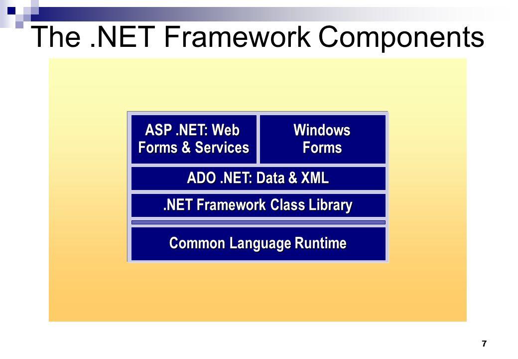 7 The.NET Framework Components.NET Framework Class Library ADO.NET: Data & XML WindowsForms Common Language Runtime ASP.NET: Web Forms & Services