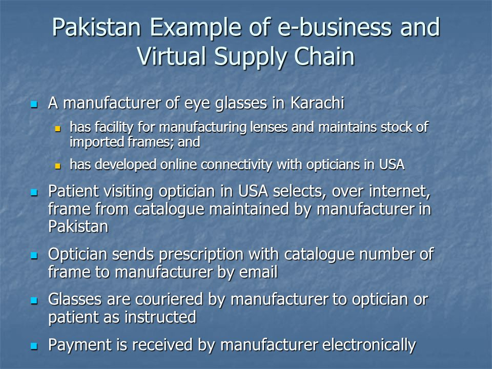 Pakistan Example of e-business and Virtual Supply Chain A manufacturer of eye glasses in Karachi A manufacturer of eye glasses in Karachi has facility