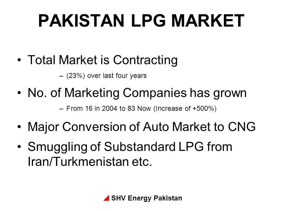 SHV Energy Pakistan PAKISTAN LPG MARKET Total Market is Contracting –(23%) over last four years No. of Marketing Companies has grown –From 16 in 2004