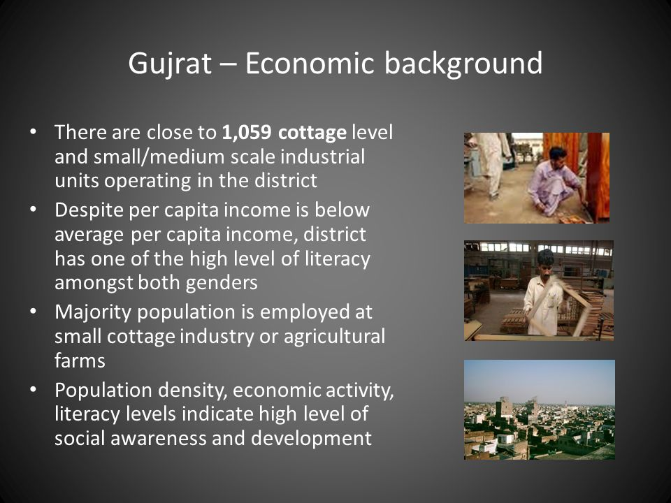 Gujrat – Economic background There are close to 1,059 cottage level and small/medium scale industrial units operating in the district Despite per capi