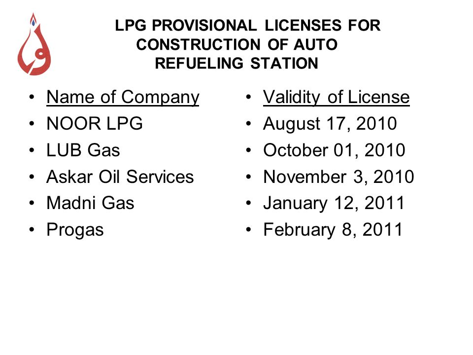 Lack of Coordination between Departments The Department of Explosives which comes under the Ministry of Industries & Production has not received any notification regarding the procedure for issuing LPG Autogas Licenses from OGRA.
