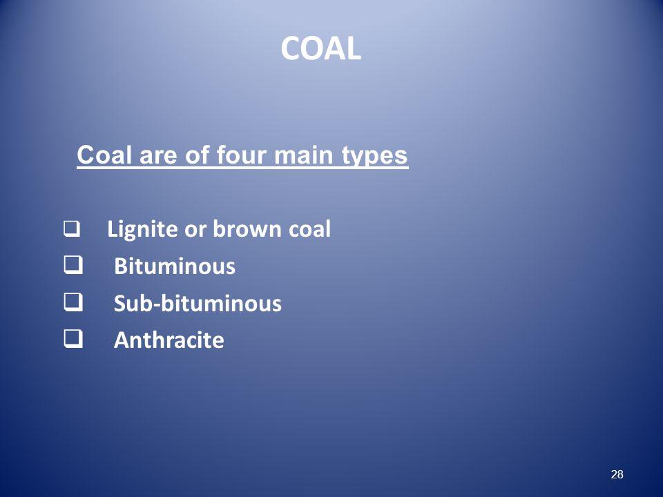 COAL Coal are of four main types Lignite or brown coal Bituminous Sub-bituminous Anthracite 28