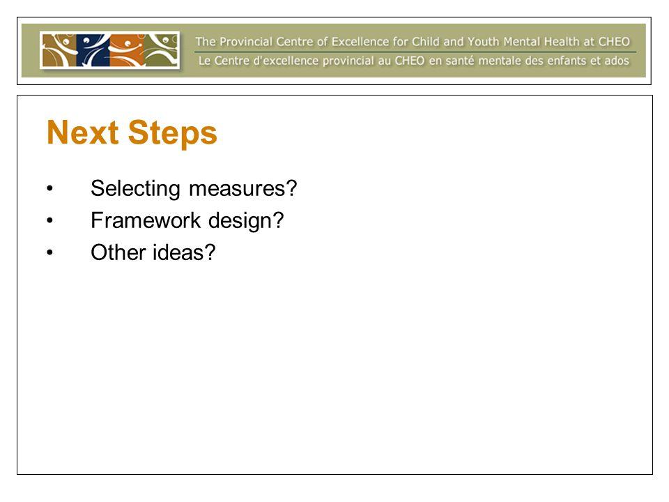 Next Steps Selecting measures? Framework design? Other ideas?