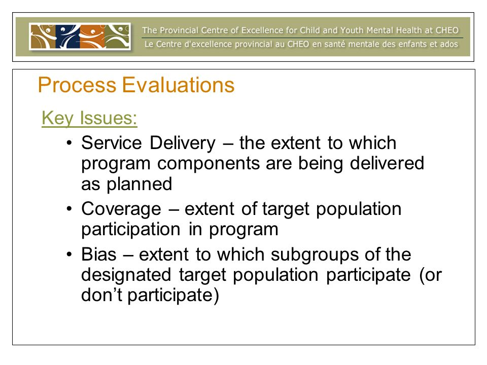 Process Evaluations Key Issues: Service Delivery – the extent to which program components are being delivered as planned Coverage – extent of target population participation in program Bias – extent to which subgroups of the designated target population participate (or dont participate)