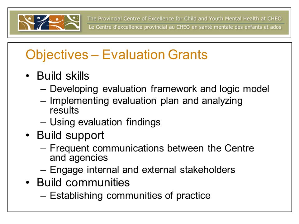 Objectives – Evaluation Grants Build skills –Developing evaluation framework and logic model –Implementing evaluation plan and analyzing results –Using evaluation findings Build support –Frequent communications between the Centre and agencies –Engage internal and external stakeholders Build communities –Establishing communities of practice