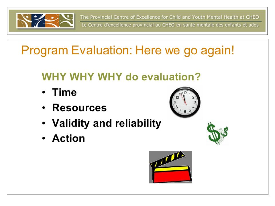 Program Evaluation: Here we go again. WHY WHY WHY do evaluation.