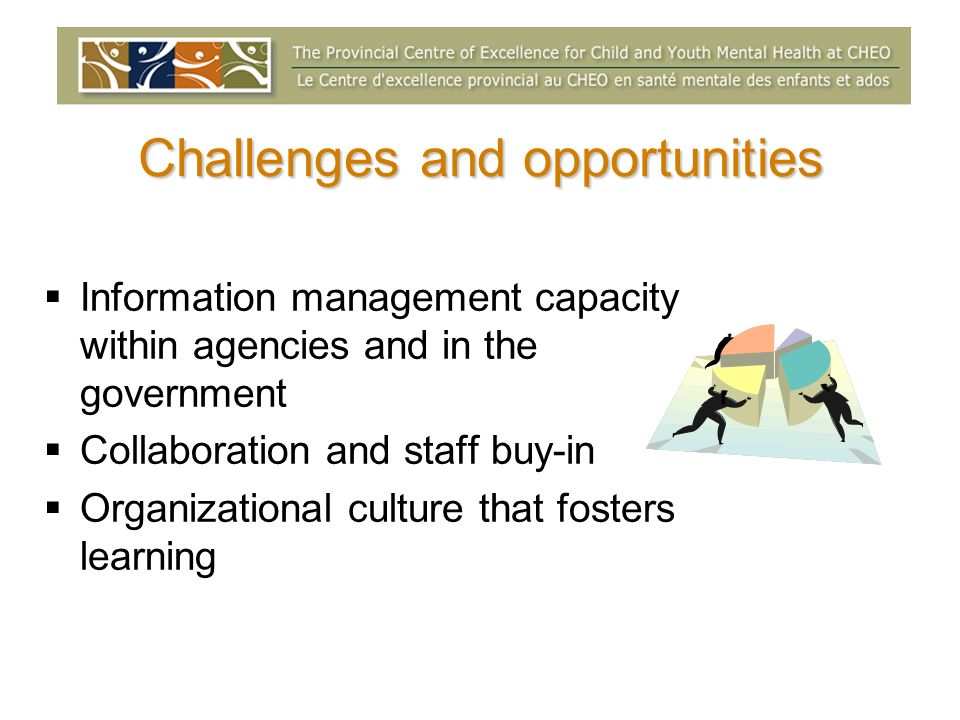 Challenges and opportunities Information management capacity within agencies and in the government Collaboration and staff buy-in Organizational cultu