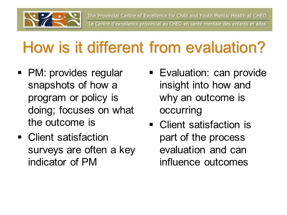 Performance measurement and evaluation SITUATION ACTIVITIES OUTCOMES INPUTS OUTPUTS Resources of a program Quantity of work, products or participants Change in target audience