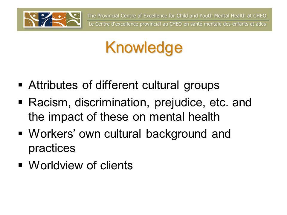 Knowledge Attributes of different cultural groups Racism, discrimination, prejudice, etc.