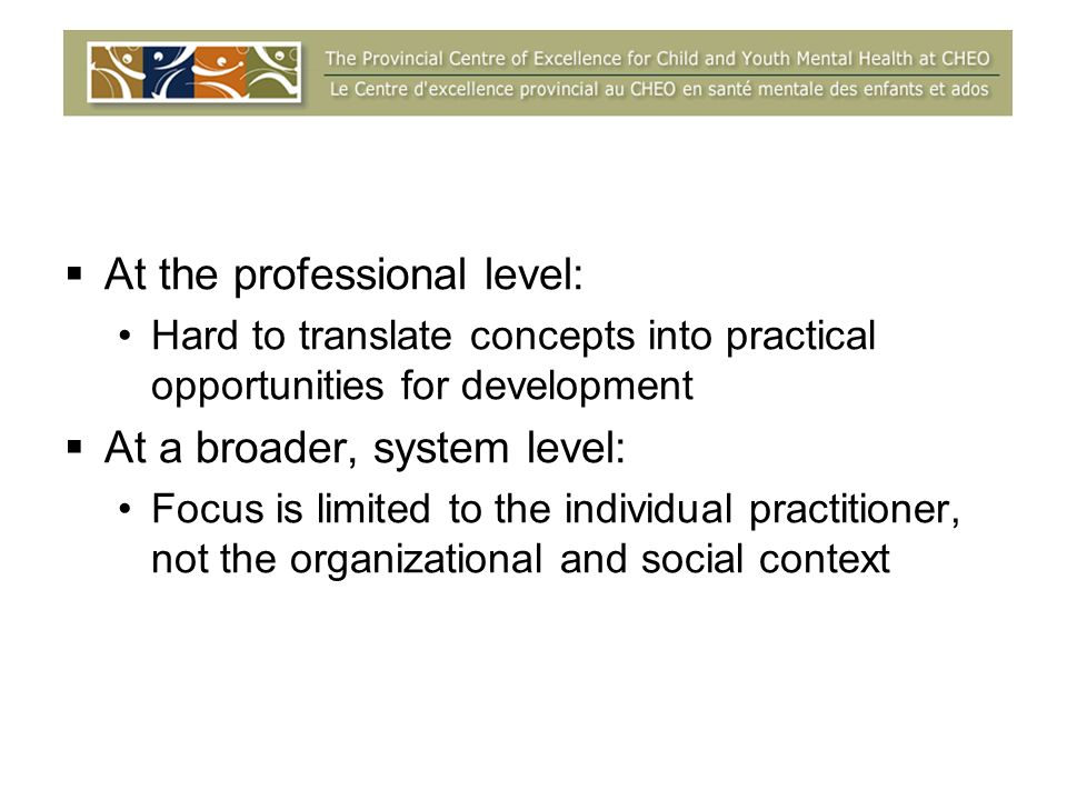 At the professional level: Hard to translate concepts into practical opportunities for development At a broader, system level: Focus is limited to the individual practitioner, not the organizational and social context