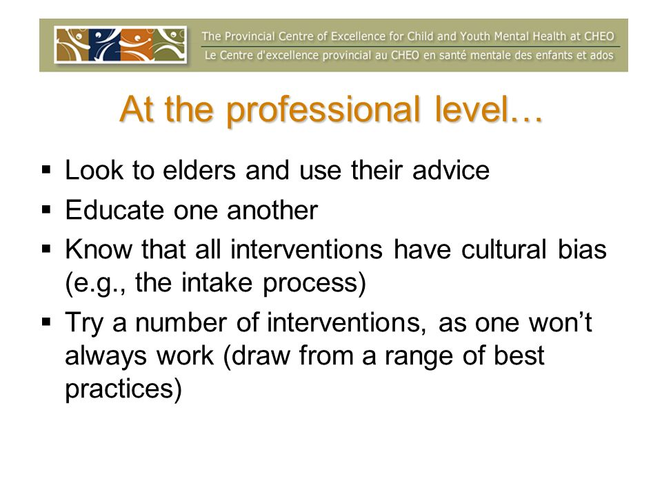 At the professional level… Look to elders and use their advice Educate one another Know that all interventions have cultural bias (e.g., the intake process) Try a number of interventions, as one wont always work (draw from a range of best practices)