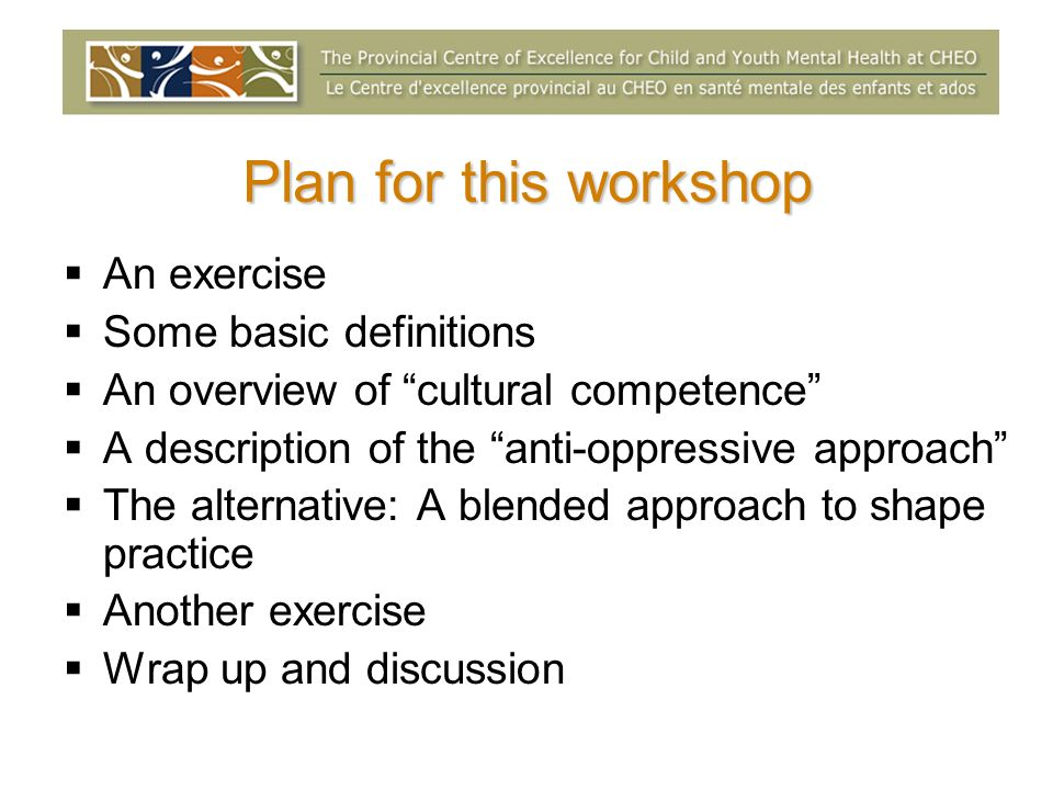 Plan for this workshop An exercise Some basic definitions An overview of cultural competence A description of the anti-oppressive approach The alternative: A blended approach to shape practice Another exercise Wrap up and discussion