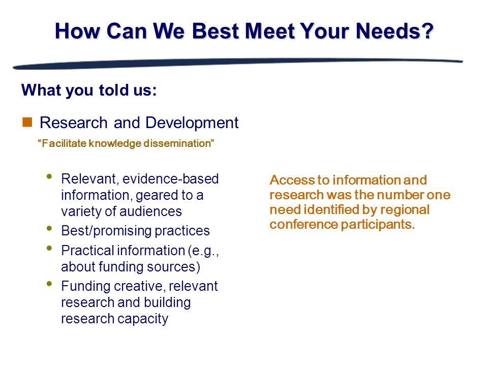 Research and Development Relevant, evidence-based information, geared to a variety of audiences Best/promising practices Practical information (e.g.,