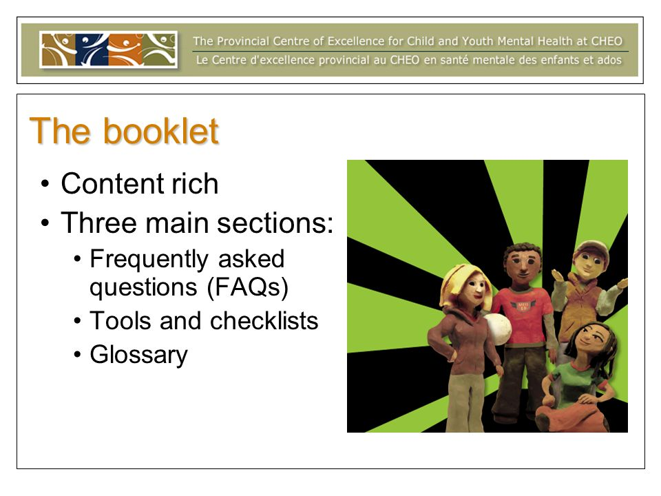 The booklet Content rich Three main sections: Frequently asked questions (FAQs) Tools and checklists Glossary