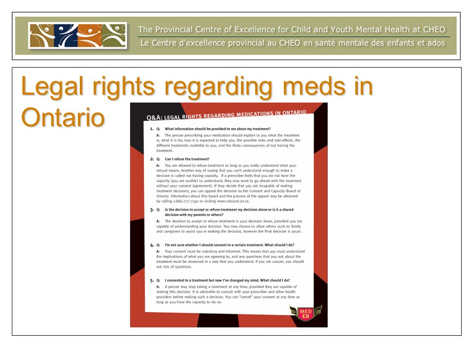 Legal rights regarding meds in Ontario