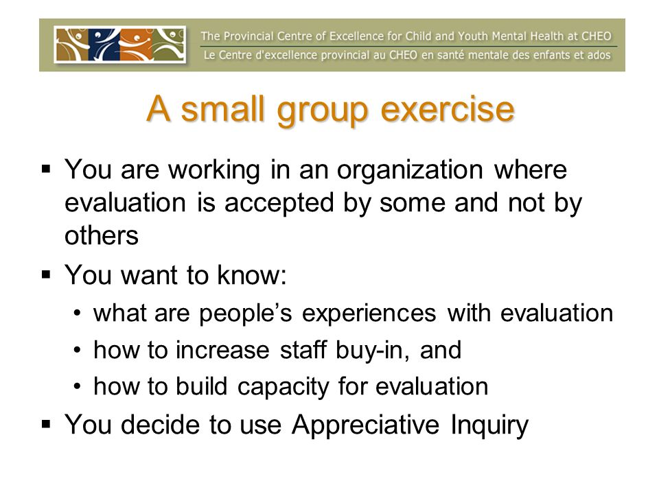 A small group exercise You are working in an organization where evaluation is accepted by some and not by others You want to know: what are peoples ex