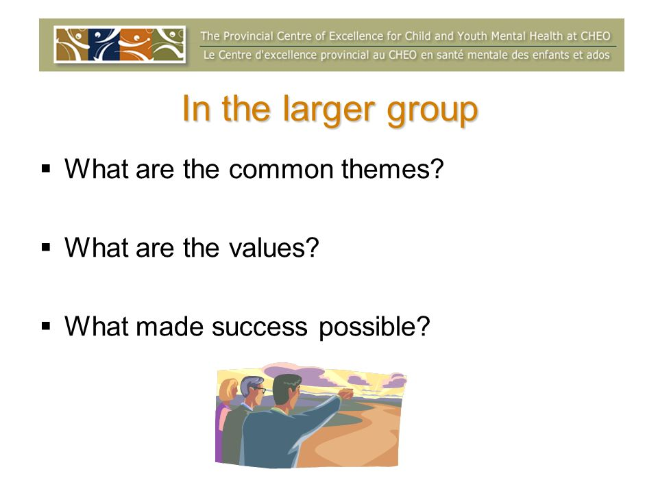 In the larger group What are the common themes? What are the values? What made success possible?