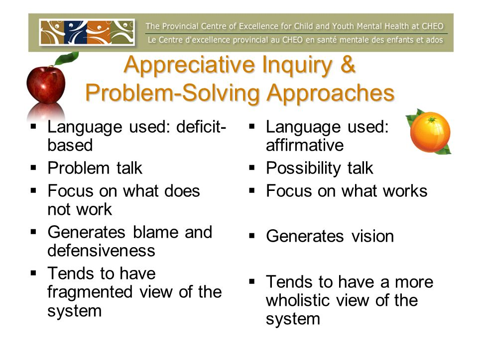 Appreciative Inquiry & Problem-Solving Approaches Language used: deficit- based Problem talk Focus on what does not work Generates blame and defensive