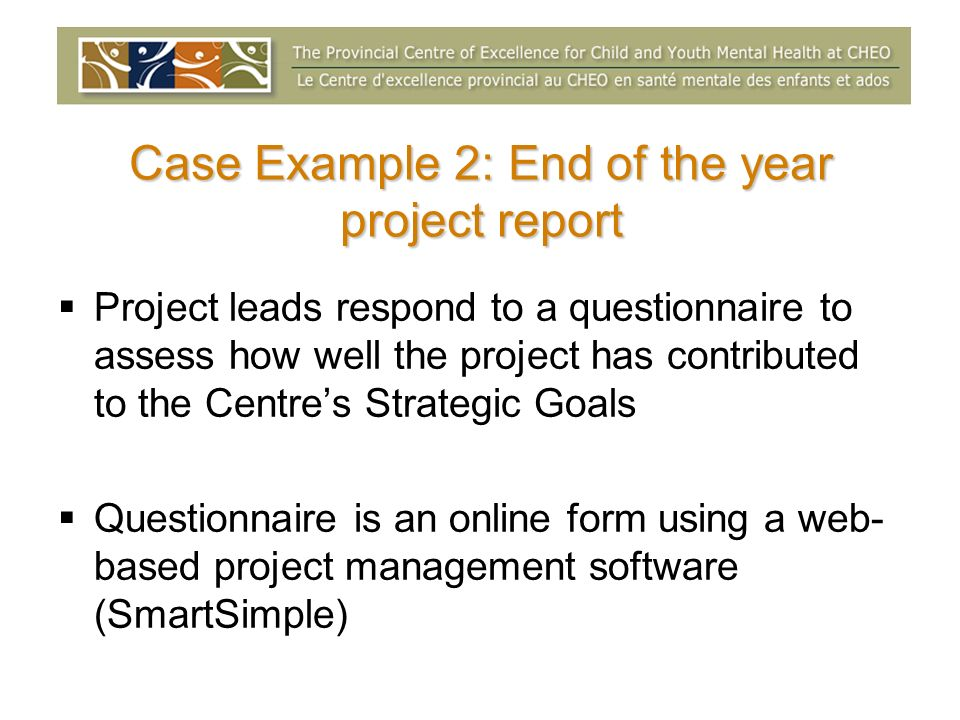 Case Example 2: End of the year project report Project leads respond to a questionnaire to assess how well the project has contributed to the Centres