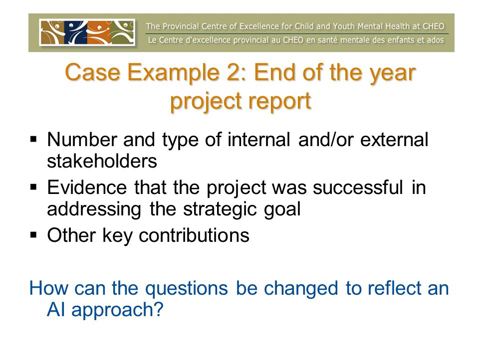 Case Example 2: End of the year project report Number and type of internal and/or external stakeholders Evidence that the project was successful in ad