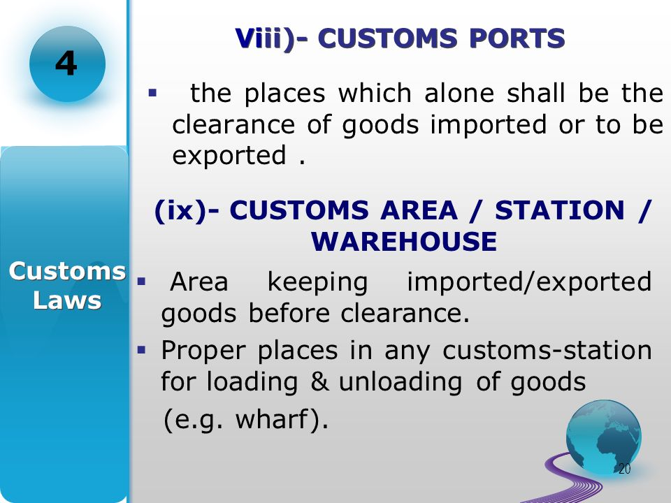 20 Viii)- CUSTOMS PORTS the places which alone shall be the clearance of goods imported or to be exported.