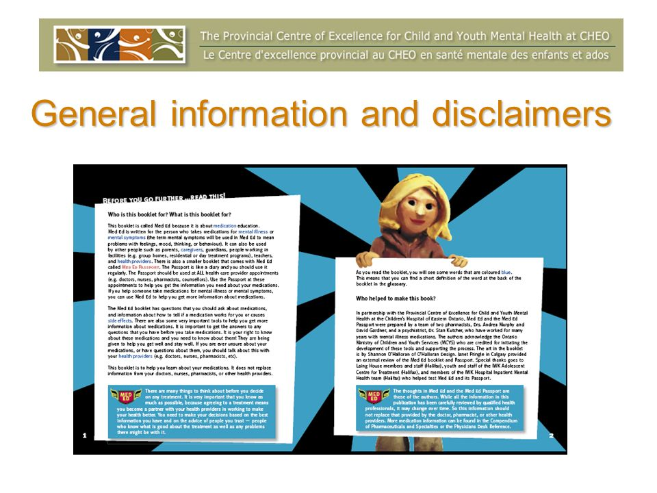 General information and disclaimers