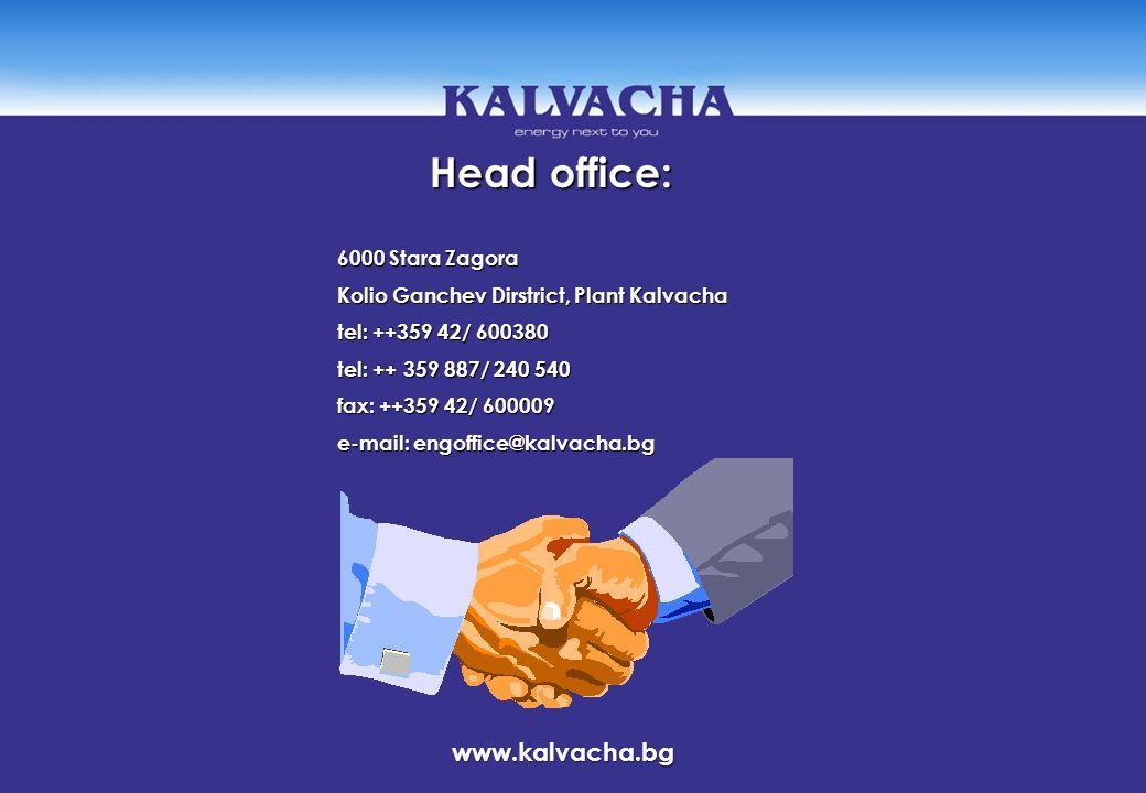 Head office: Head office: 6000 Stara Zagora Kolio Ganchev Dirstrict, Plant Kalvacha tel: ++359 42/ 600380 tel: ++ 359 887/ 240 540 fax: ++359 42/ 6000