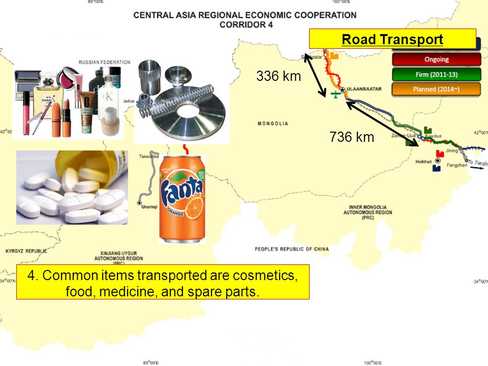 Road Transport 336 km 736 km 4.