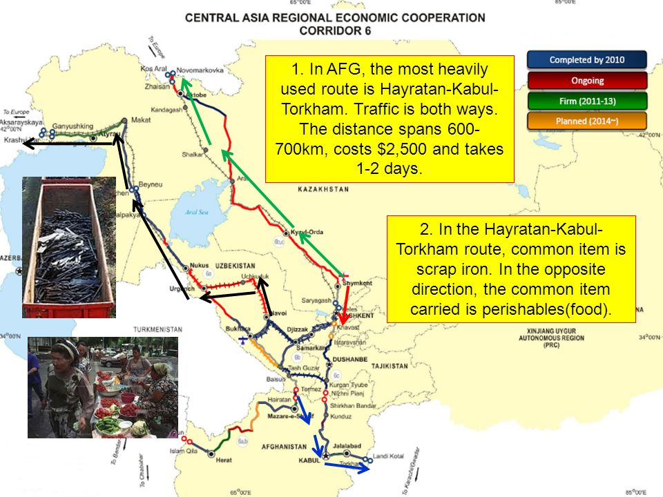 1. In AFG, the most heavily used route is Hayratan-Kabul- Torkham.