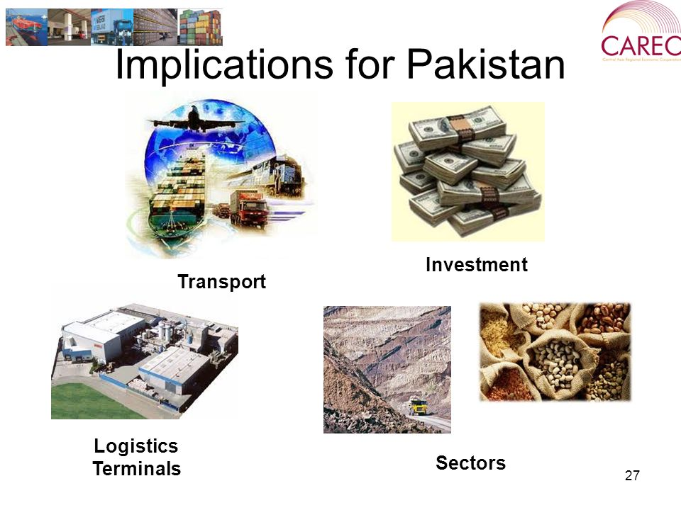 Implications for Pakistan 27 Transport Investment Logistics Terminals Sectors