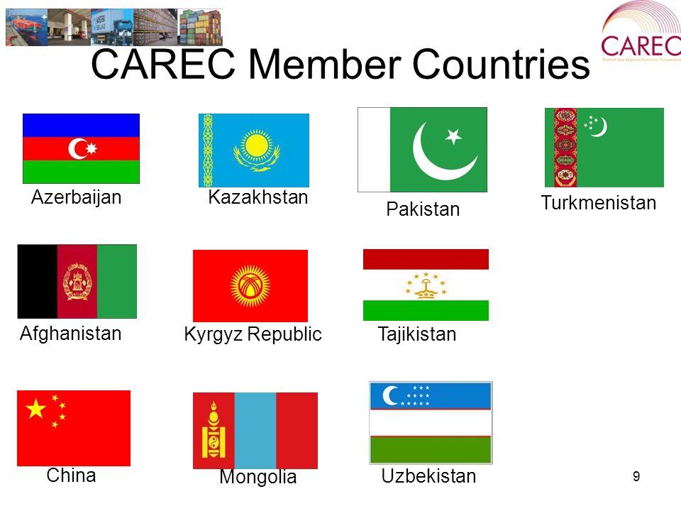 CAREC Member Countries 9 Azerbaijan Kyrgyz Republic China Turkmenistan Uzbekistan Afghanistan Kazakhstan Mongolia Pakistan Tajikistan