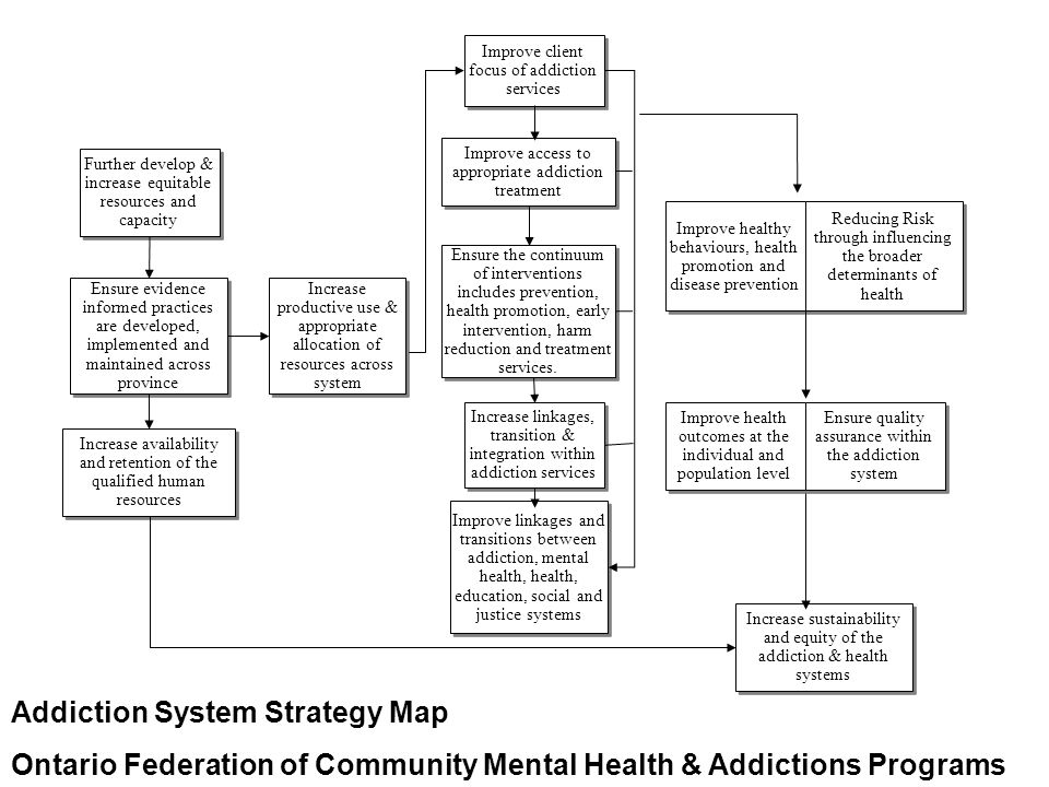 Improve healthy behaviours, health promotion and disease prevention Improve linkages and transitions between addiction, mental health, health, education, social and justice systems Improve client focus of addiction services Improve access to appropriate addiction treatment Increase productive use & appropriate allocation of resources across system Ensure the continuum of interventions includes prevention, health promotion, early intervention, harm reduction and treatment services.