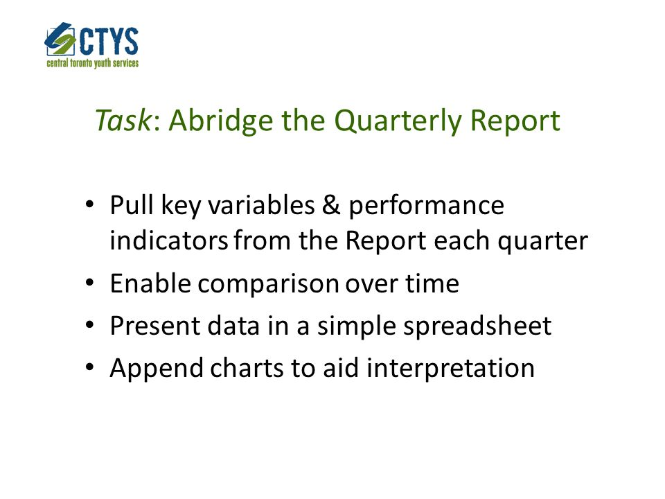 Task: Abridge the Quarterly Report Pull key variables & performance indicators from the Report each quarter Enable comparison over time Present data in a simple spreadsheet Append charts to aid interpretation