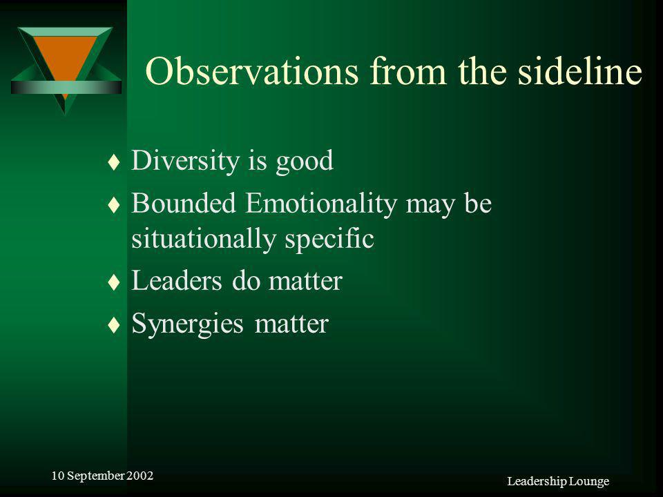 Leadership Lounge 10 September 2002 Observations from the sideline t Diversity is good t Bounded Emotionality may be situationally specific t Leaders do matter t Synergies matter
