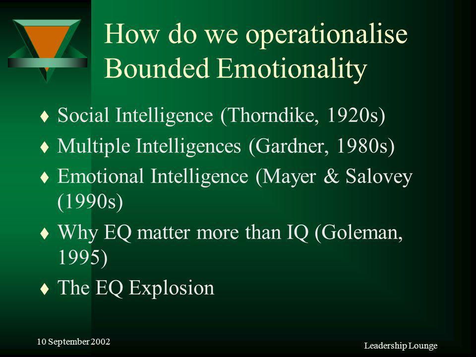 Leadership Lounge 10 September 2002 How do we operationalise Bounded Emotionality t Social Intelligence (Thorndike, 1920s) t Multiple Intelligences (Gardner, 1980s) t Emotional Intelligence (Mayer & Salovey (1990s) t Why EQ matter more than IQ (Goleman, 1995) t The EQ Explosion