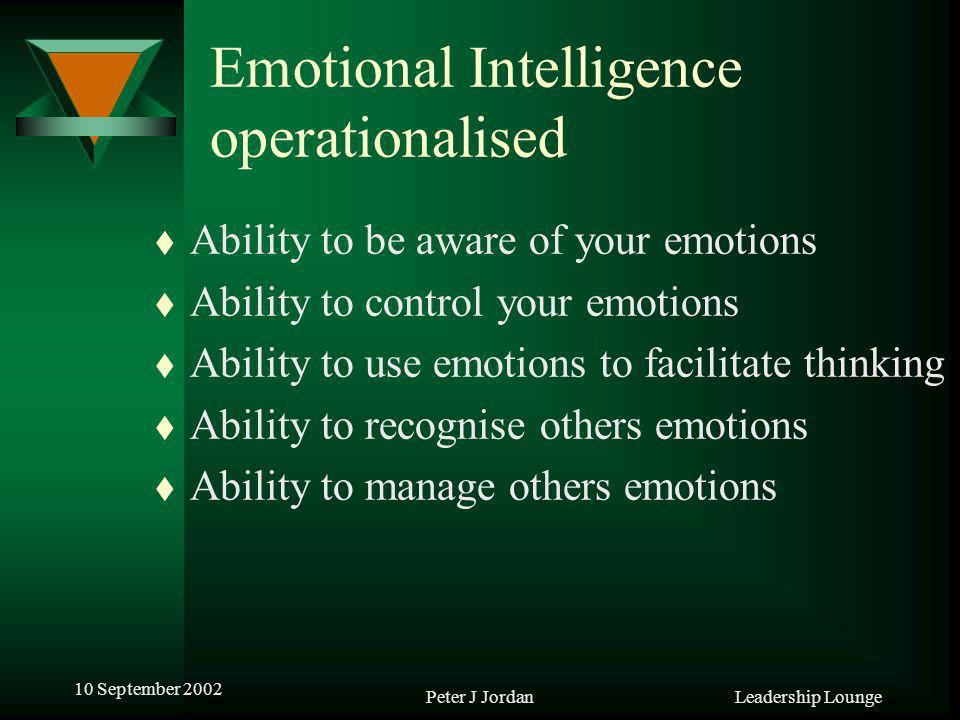 Leadership Lounge 10 September 2002 Peter J Jordan Emotional Intelligence operationalised t Ability to be aware of your emotions t Ability to control your emotions t Ability to use emotions to facilitate thinking t Ability to recognise others emotions t Ability to manage others emotions