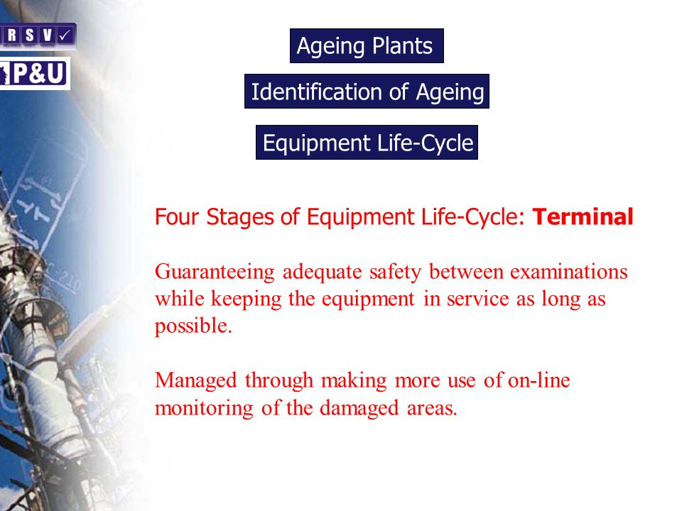 Ageing Plants n Four Stages of Equipment Life-Cycle: Terminal Guaranteeing adequate safety between examinations while keeping the equipment in service as long as possible.