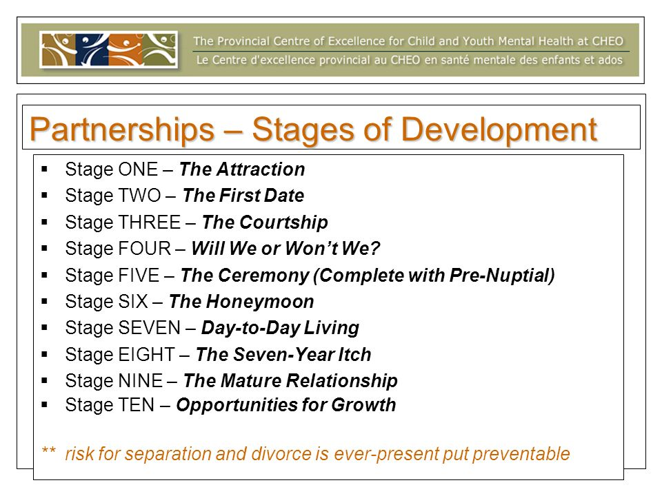 Partnerships – Stages of Development Stage ONE – The Attraction Stage TWO – The First Date Stage THREE – The Courtship Stage FOUR – Will We or Wont We