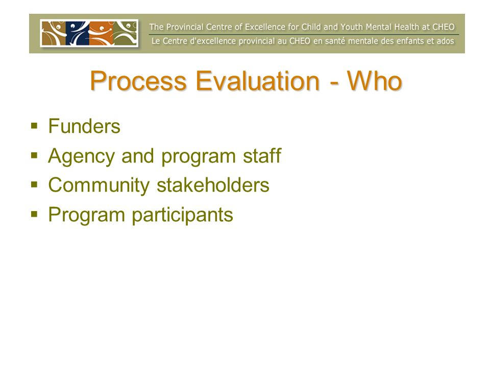 Process Evaluation - Who Funders Agency and program staff Community stakeholders Program participants