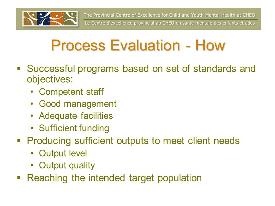 Process Evaluation - How Successful programs based on set of standards and objectives: Competent staff Good management Adequate facilities Sufficient