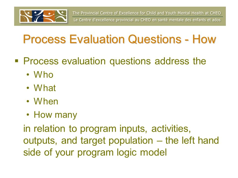 Process Evaluation Questions - How Process evaluation questions address the Who What When How many in relation to program inputs, activities, outputs,