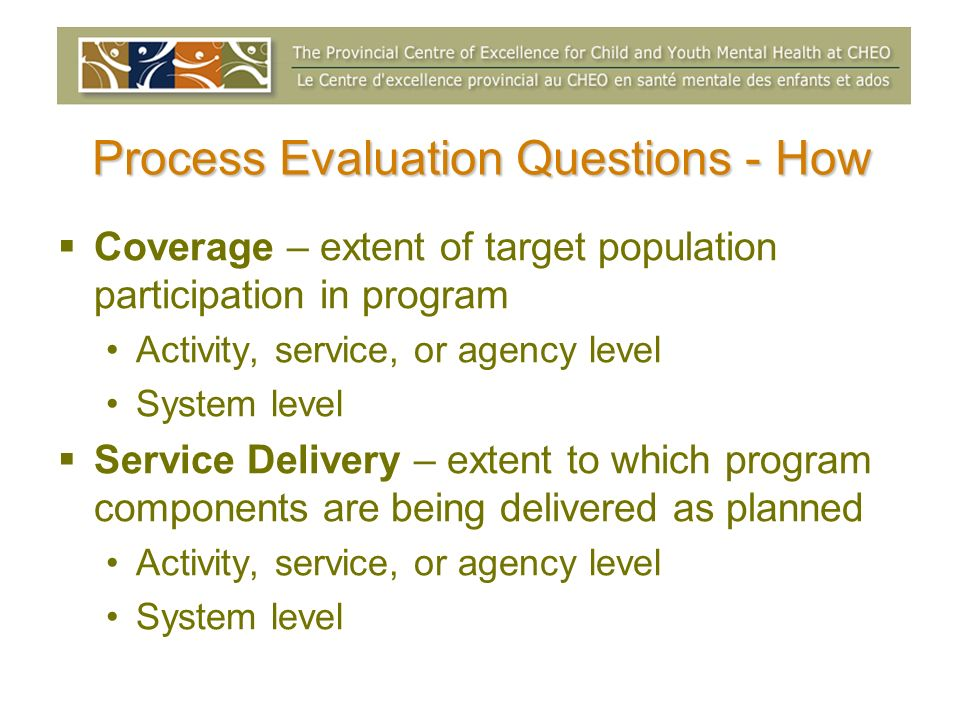 Process Evaluation Questions - How Coverage – extent of target population participation in program Activity, service, or agency level System level Ser