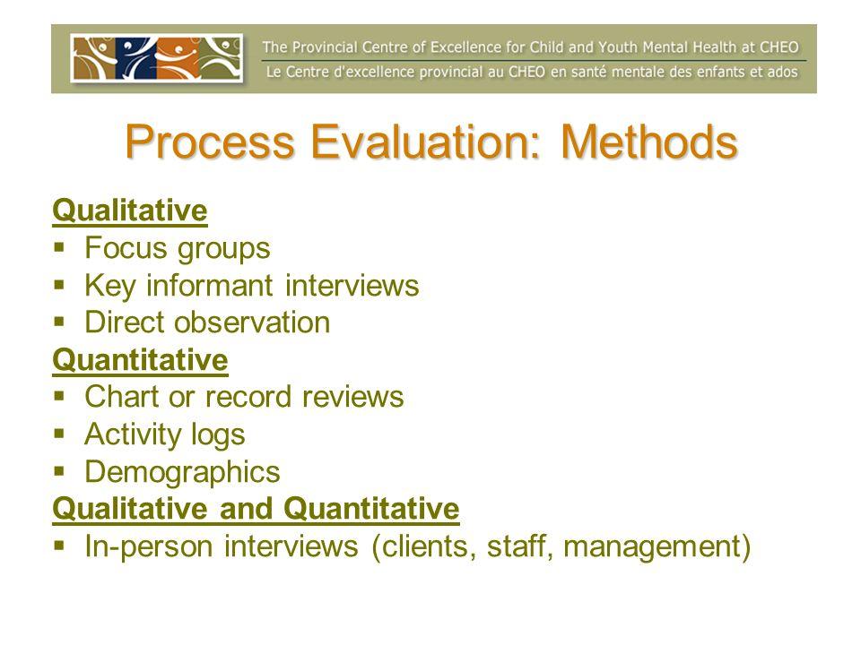 Process Evaluation: Methods Qualitative Focus groups Key informant interviews Direct observation Quantitative Chart or record reviews Activity logs De
