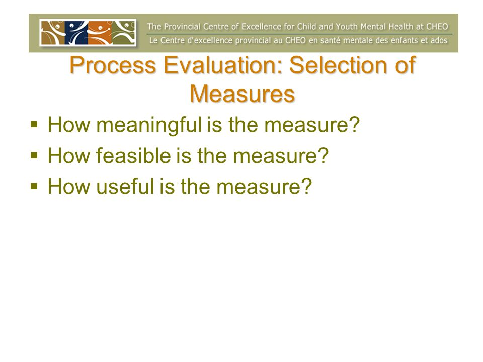 Process Evaluation: Selection of Measures How meaningful is the measure? How feasible is the measure? How useful is the measure?